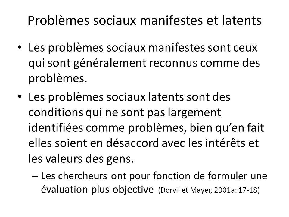 Problèmes sociaux manifestes et latents Les problèmes sociaux manifestes sont ceux qui sont généralement reconnus comme des problèmes.