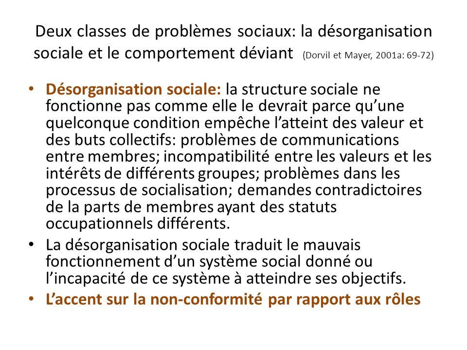 Deux classes de problèmes sociaux: la désorganisation sociale et le comportement déviant (Dorvil et Mayer, 2001a: 69-72) Comportement déviant: relié aux normes qui sont socialement définies comme appropriées et moralement acceptables par les membres.