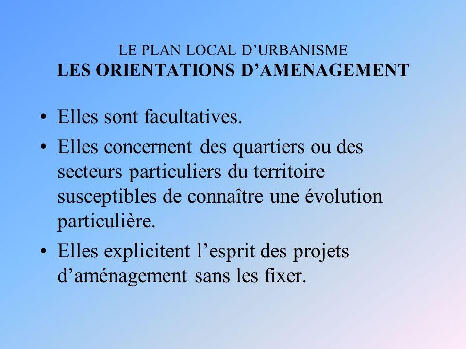 LE PLAN LOCAL DURBANISME LES ORIENTATIONS DAMENAGEMENT Elles sont facultatives.