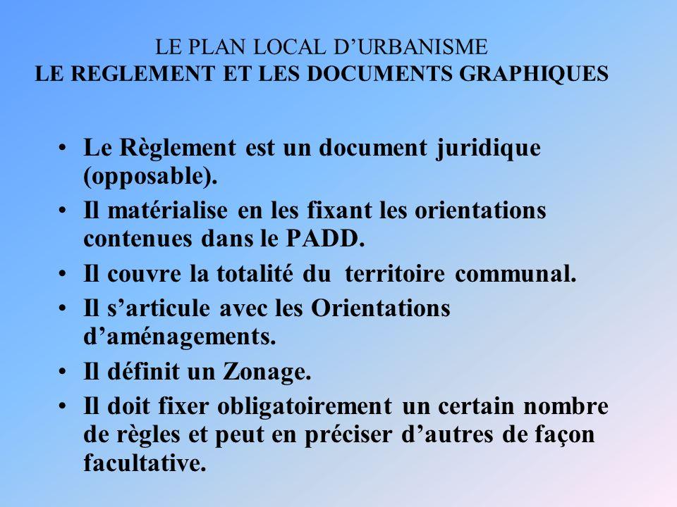 LE PLAN LOCAL DURBANISME LE REGLEMENT ET LES DOCUMENTS GRAPHIQUES Le Règlement est un document juridique (opposable). Il matérialise en les fixant les