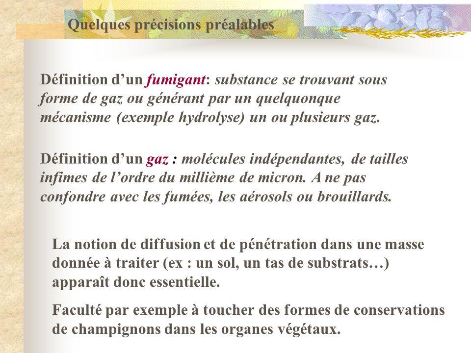 Quelques précisions préalables Définition dun fumigant: substance se trouvant sous forme de gaz ou générant par un quelquonque mécanisme (exemple hydr