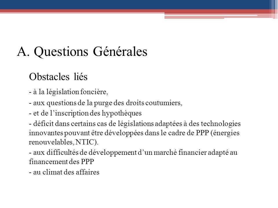 A. Questions Générales Obstacles liés - à la législation foncière, - aux questions de la purge des droits coutumiers, - et de linscription des hypothè