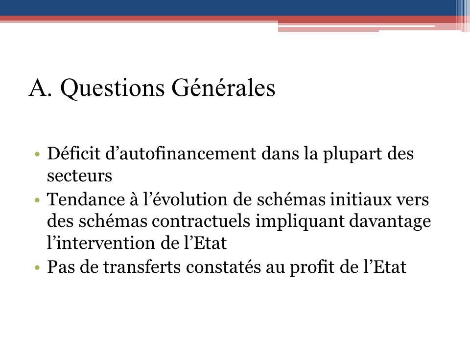 A. Questions Générales Déficit dautofinancement dans la plupart des secteurs Tendance à lévolution de schémas initiaux vers des schémas contractuels i