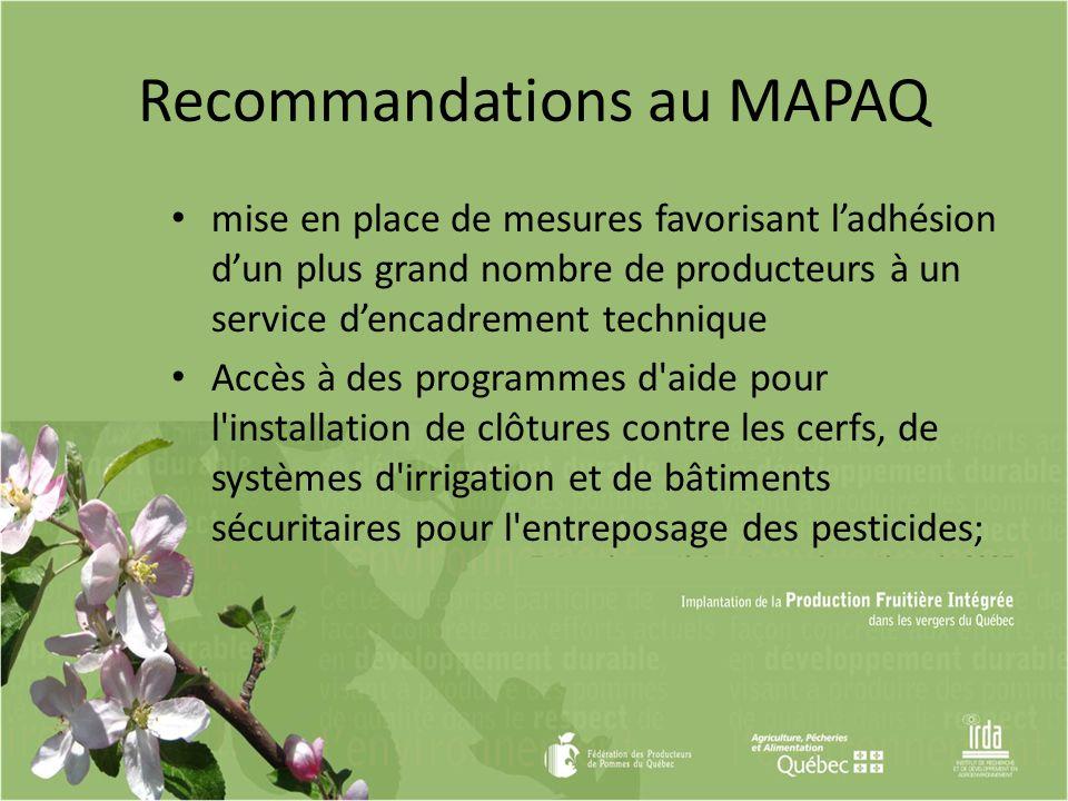 Recommandations au MAPAQ mise en place de mesures favorisant ladhésion dun plus grand nombre de producteurs à un service dencadrement technique Accès