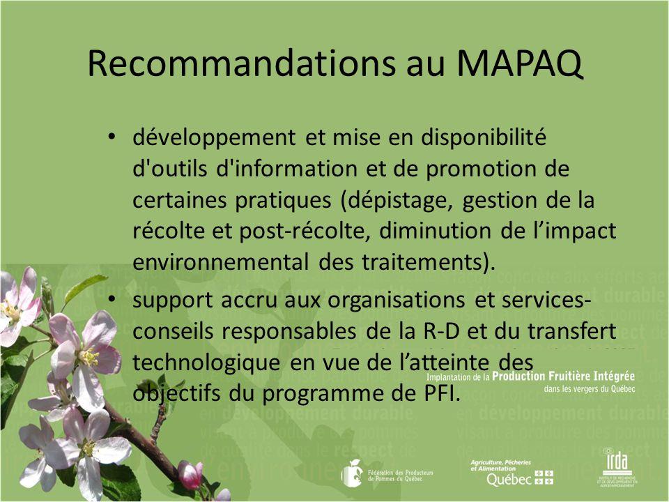 Recommandations au MAPAQ développement et mise en disponibilité d'outils d'information et de promotion de certaines pratiques (dépistage, gestion de l