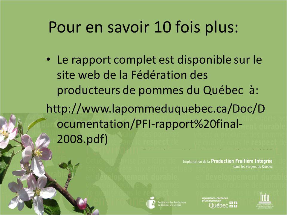 Pour en savoir 10 fois plus: Le rapport complet est disponible sur le site web de la Fédération des producteurs de pommes du Québec à: http://www.lapo