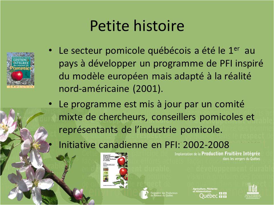 Le secteur pomicole québécois a été le 1 er au pays à développer un programme de PFI inspiré du modèle européen mais adapté à la réalité nord-américai