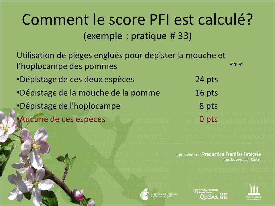Comment le score PFI est calculé? (exemple : pratique # 33) Utilisation de pièges englués pour dépister la mouche et lhoplocampe des pommes *** Dépist