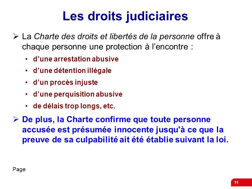 Les droits judiciaires La Charte des droits et libertés de la personne offre à chaque personne une protection à lencontre : dune arrestation abusive d
