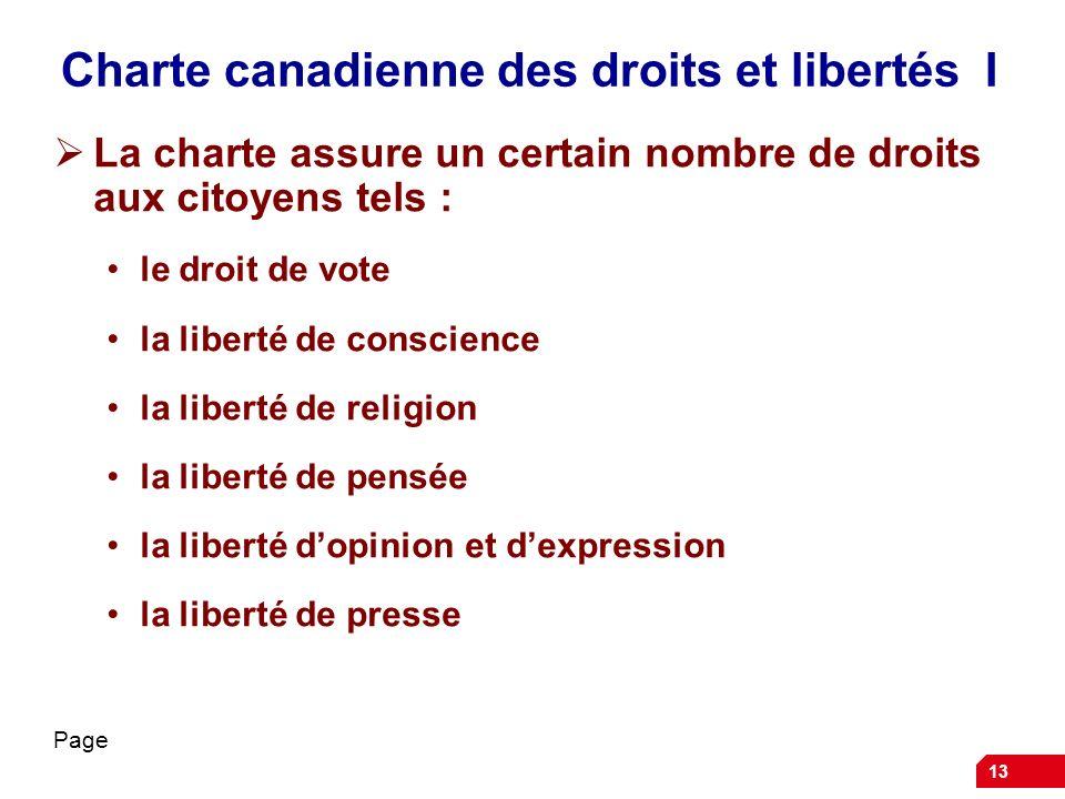 Charte canadienne des droits et libertés I La charte assure un certain nombre de droits aux citoyens tels : le droit de vote la liberté de conscience