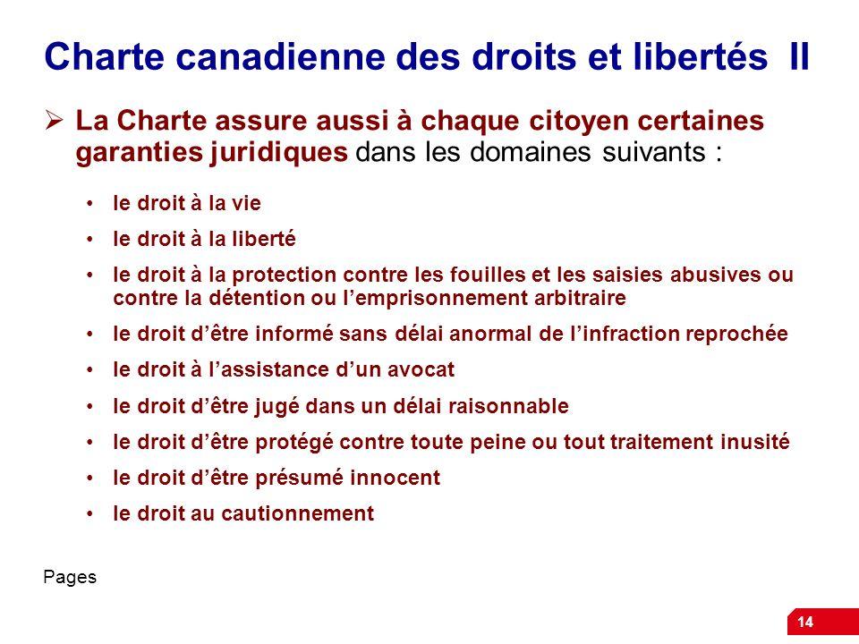 Charte canadienne des droits et libertés II La Charte assure aussi à chaque citoyen certaines garanties juridiques dans les domaines suivants : le dro
