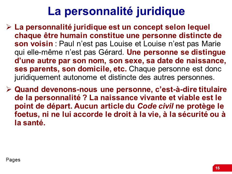 15 La personnalité juridique La personnalité juridique est un concept selon lequel chaque être humain constitue une personne distincte de son voisin :