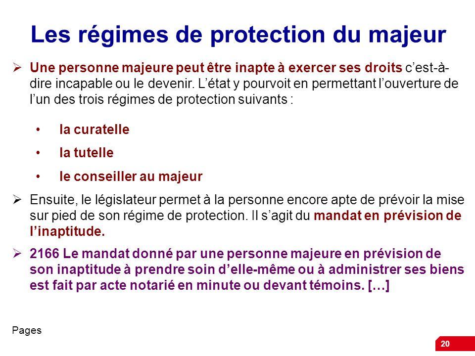 20 Les régimes de protection du majeur Une personne majeure peut être inapte à exercer ses droits cest-à- dire incapable ou le devenir. Létat y pourvo