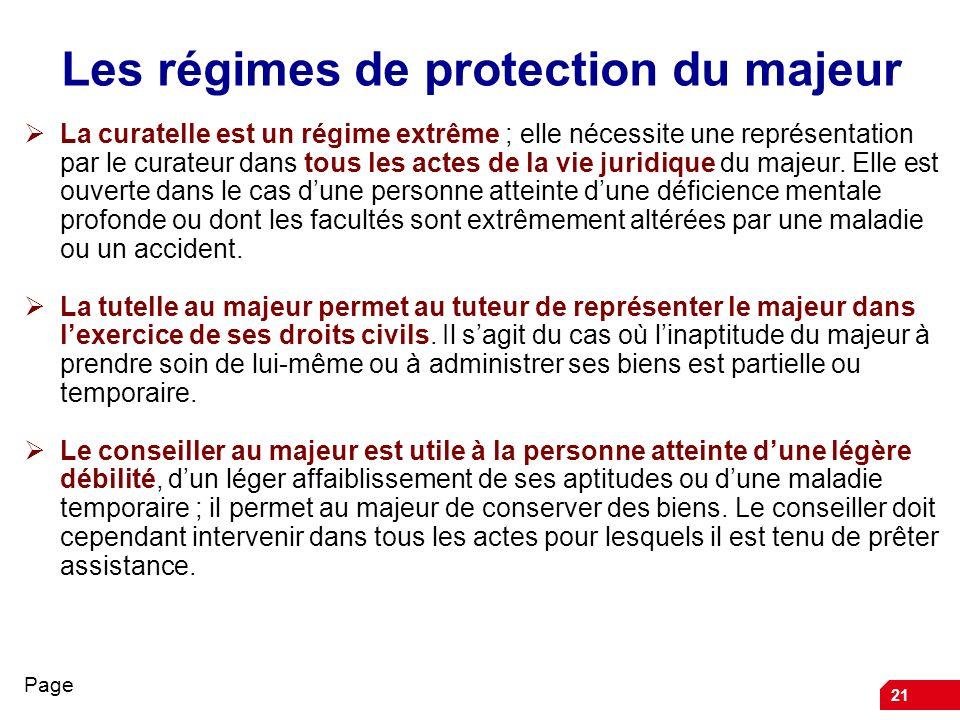 21 Les régimes de protection du majeur La curatelle est un régime extrême ; elle nécessite une représentation par le curateur dans tous les actes de l