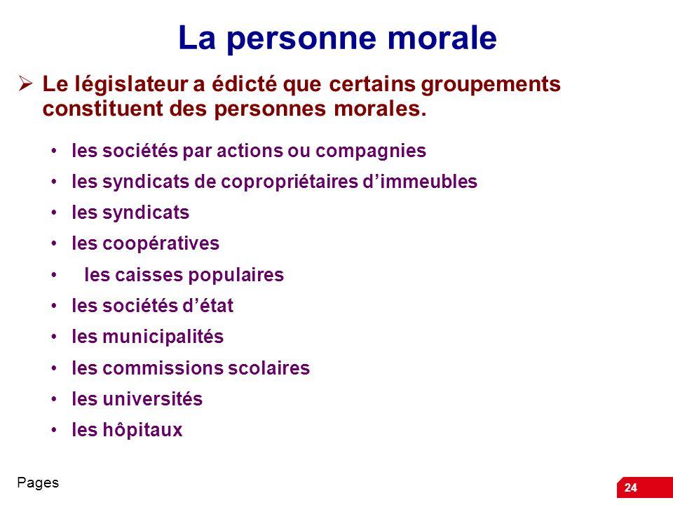 24 La personne morale Le législateur a édicté que certains groupements constituent des personnes morales. les sociétés par actions ou compagnies les s