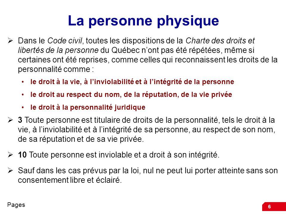 6 La personne physique Dans le Code civil, toutes les dispositions de la Charte des droits et libertés de la personne du Québec nont pas été répétées,