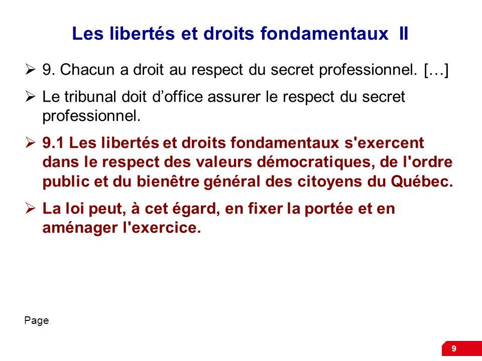 Les libertés et droits fondamentaux II 9. Chacun a droit au respect du secret professionnel. […] Le tribunal doit doffice assurer le respect du secret