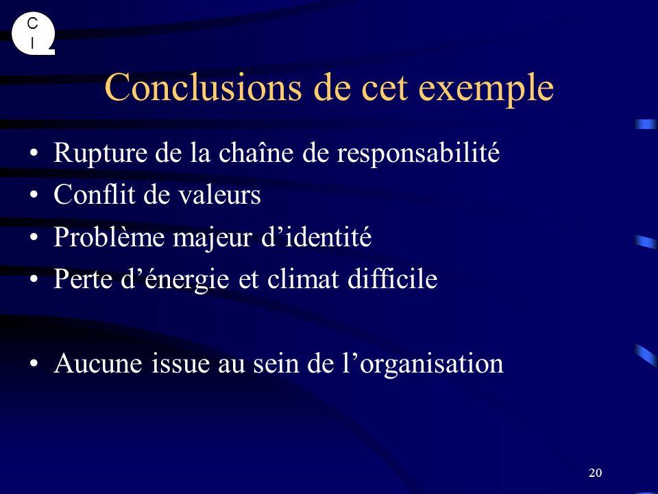 CICI 20 Conclusions de cet exemple Rupture de la chaîne de responsabilité Conflit de valeurs Problème majeur didentité Perte dénergie et climat diffic