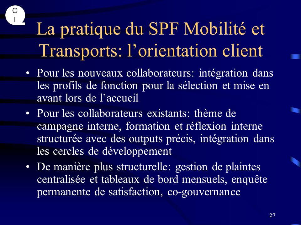 CICI 27 La pratique du SPF Mobilité et Transports: lorientation client Pour les nouveaux collaborateurs: intégration dans les profils de fonction pour