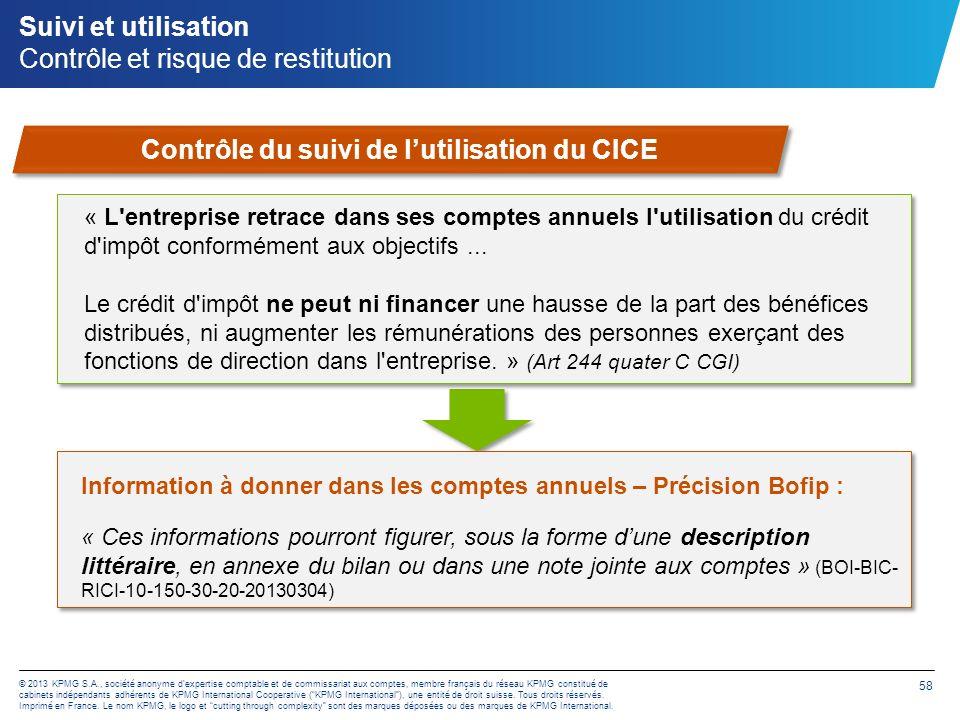 © 2013 KPMG S.A., société anonyme dexpertise comptable et de commissariat aux comptes, membre français du réseau KPMG constitué de cabinets indépendan