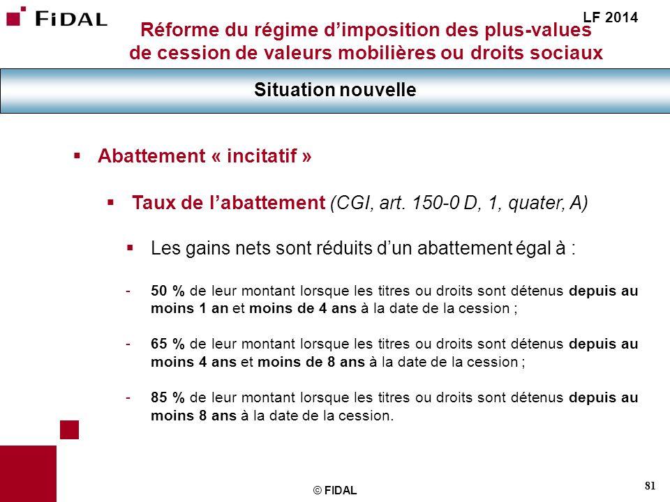 81 © FIDAL Réforme du régime dimposition des plus-values de cession de valeurs mobilières ou droits sociaux Situation nouvelle LF 2014 Abattement « in