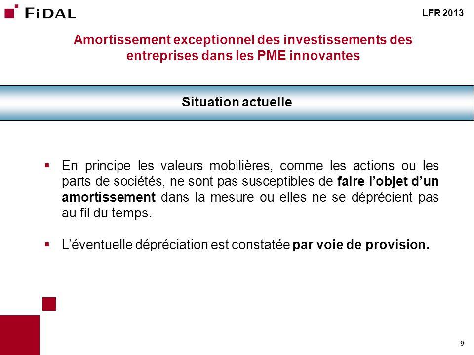 9 Amortissement exceptionnel des investissements des entreprises dans les PME innovantes Situation actuelle LFR 2013 En principe les valeurs mobilière