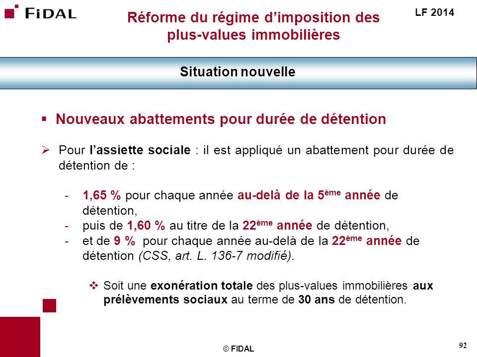 92 © FIDAL Réforme du régime dimposition des plus-values immobilières Situation nouvelle LF 2014 Nouveaux abattements pour durée de détention Pour las