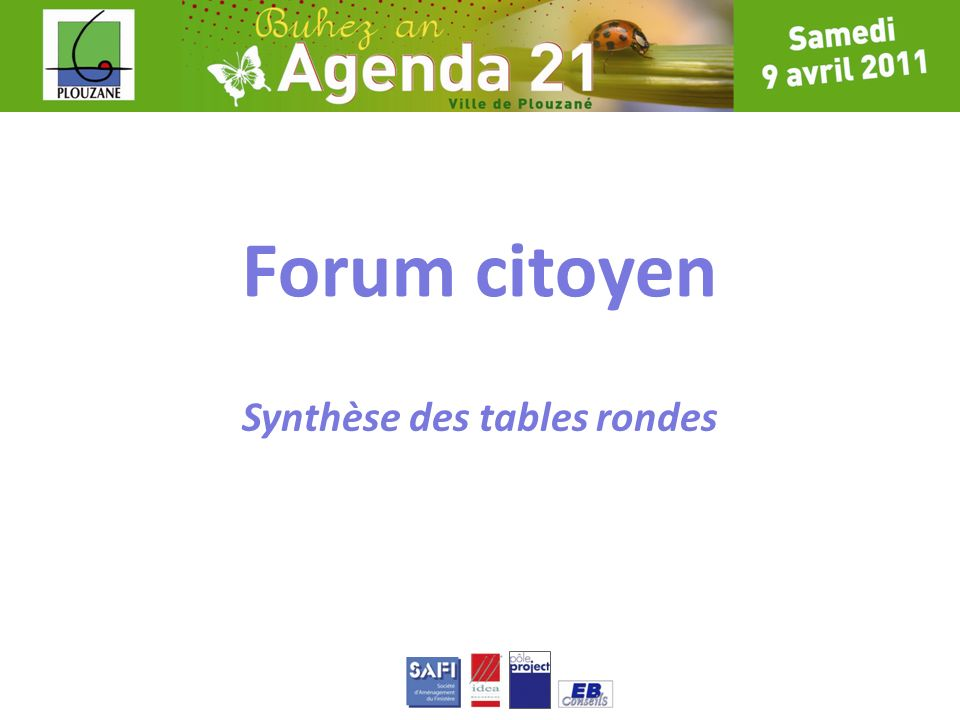 Comité de pilotage Forum citoyen Synthèse des tables rondes