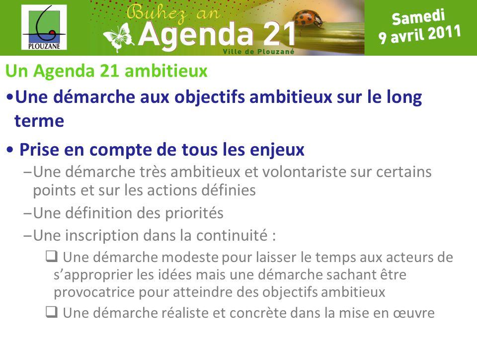 Un Agenda 21 ambitieux Une démarche aux objectifs ambitieux sur le long terme Prise en compte de tous les enjeux – Une démarche très ambitieux et volo