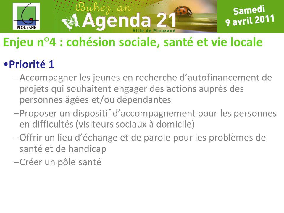 Enjeu n°4 : cohésion sociale, santé et vie locale Priorité 1 – Accompagner les jeunes en recherche dautofinancement de projets qui souhaitent engager