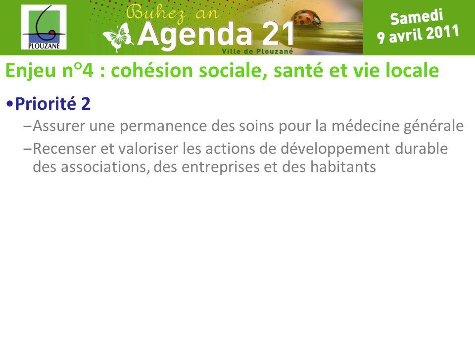 Enjeu n°4 : cohésion sociale, santé et vie locale Priorité 2 – Assurer une permanence des soins pour la médecine générale – Recenser et valoriser les