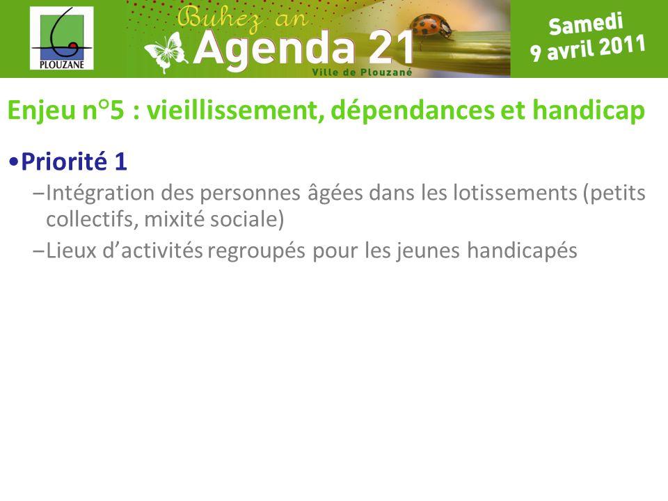 Enjeu n°5 : vieillissement, dépendances et handicap Priorité 1 – Intégration des personnes âgées dans les lotissements (petits collectifs, mixité soci