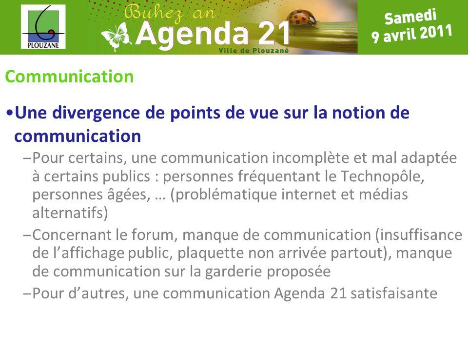 Communication Une divergence de points de vue sur la notion de communication – Pour certains, une communication incomplète et mal adaptée à certains p