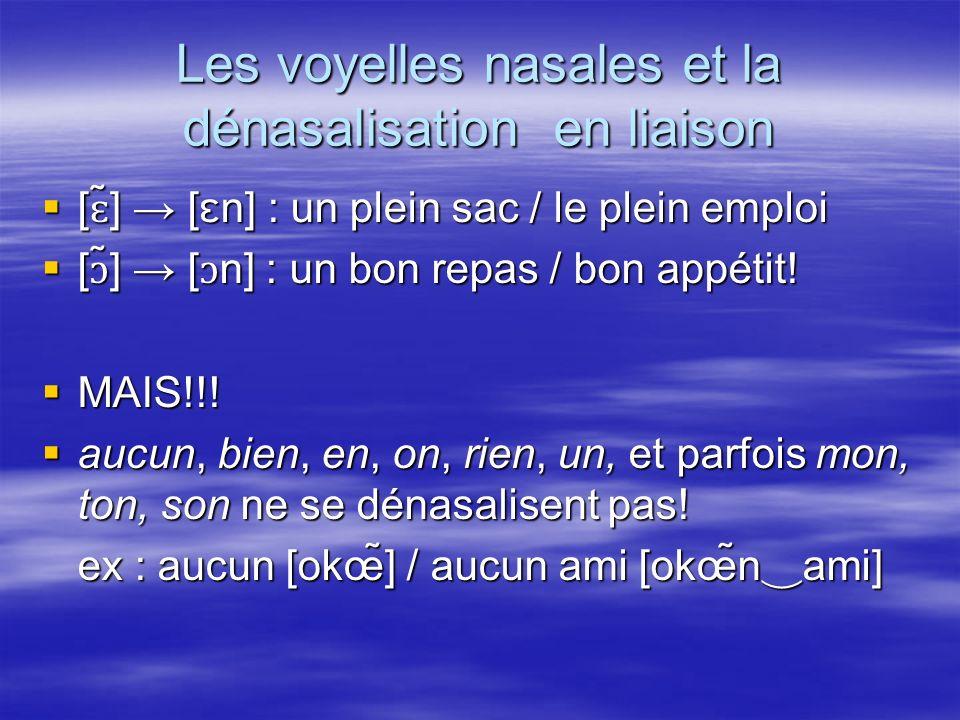 Les voyelles nasales et la dénasalisation en liaison [ ɛ ̃] [ ɛn] : un plein sac / le plein emploi [ ɛ ̃] [ ɛn] : un plein sac / le plein emploi [ɔ ̃] [ ɔ n] : un bon repas / bon appétit.