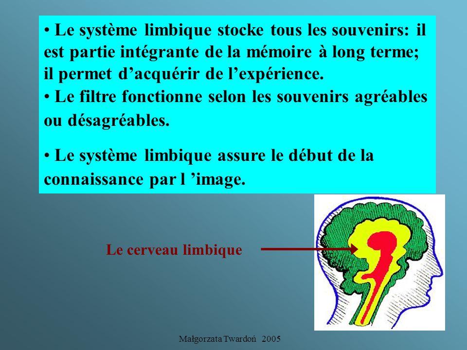 Małgorzata Twardoń 2005 Le système limbique est imperméable à toute logique. Toute information passe dabord par le limbique qui filtre linformation et