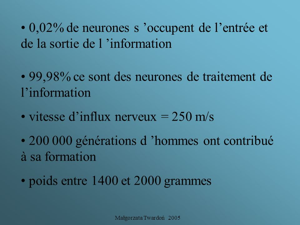 Małgorzata Twardoń 2005 Le cerveau en chiffres 30 à 100 milliard de neurones + des cellules gliales (= 90% de la masse cérébrale) 16 000 km de fibres