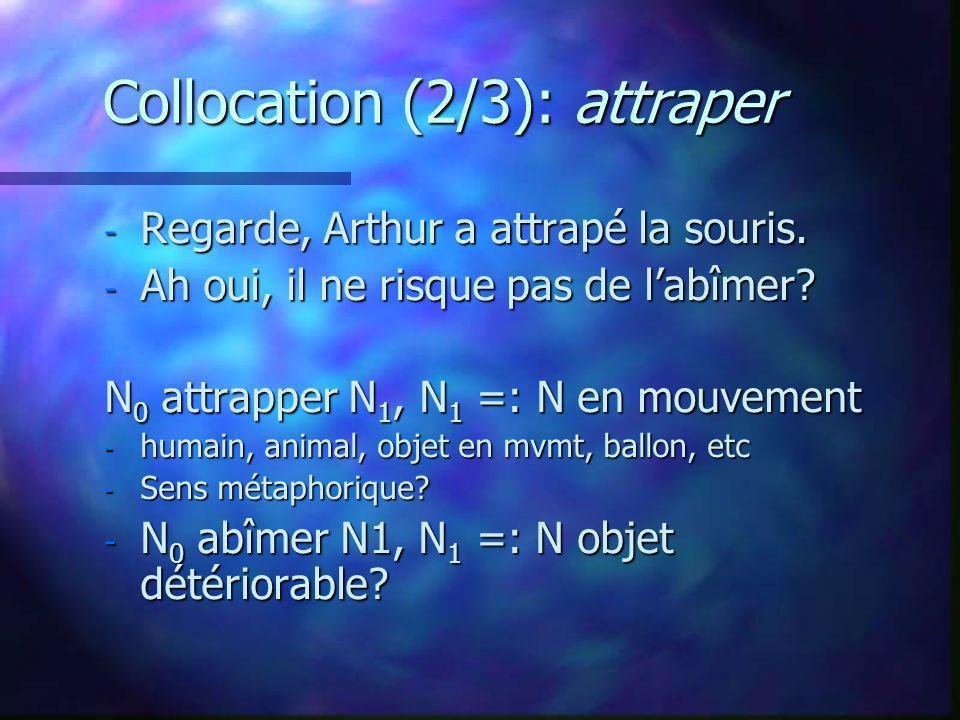 Collocation (2/3): attraper - Regarde, Arthur a attrapé la souris. - Ah oui, il ne risque pas de labîmer? N 0 attrapper N 1, N 1 =: N en mouvement - h