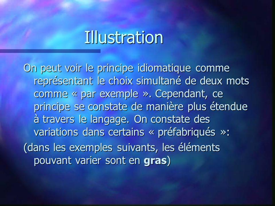 Illustration On peut voir le principe idiomatique comme représentant le choix simultané de deux mots comme « par exemple ». Cependant, ce principe se