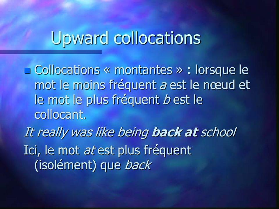 Upward collocations n Collocations « montantes » : lorsque le mot le moins fréquent a est le nœud et le mot le plus fréquent b est le collocant. It re