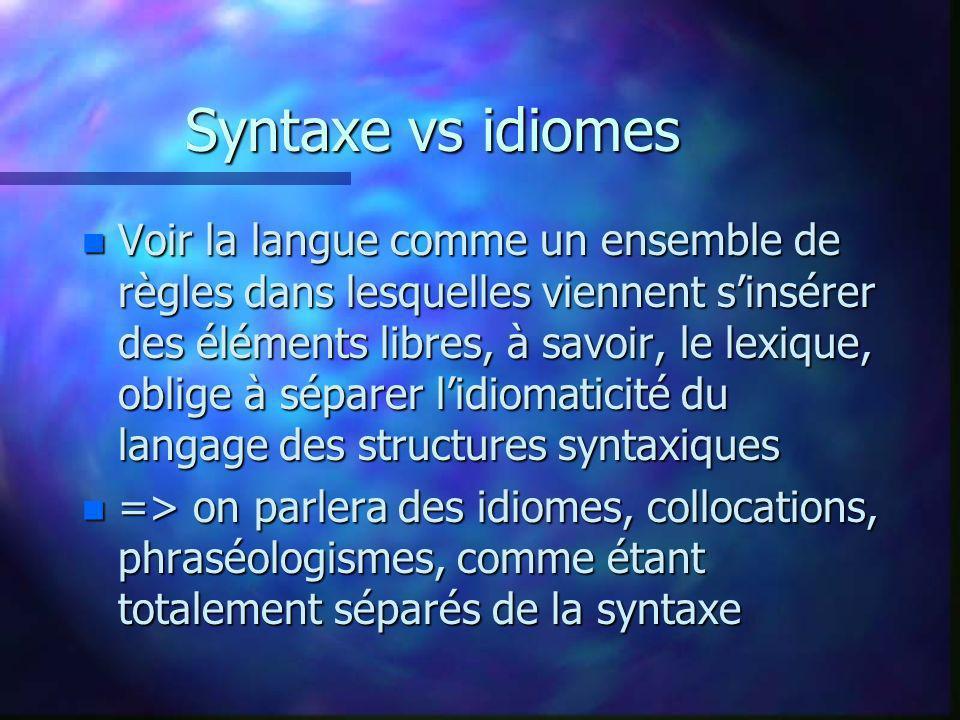 Syntaxe vs idiomes n Voir la langue comme un ensemble de règles dans lesquelles viennent sinsérer des éléments libres, à savoir, le lexique, oblige à séparer lidiomaticité du langage des structures syntaxiques n => on parlera des idiomes, collocations, phraséologismes, comme étant totalement séparés de la syntaxe
