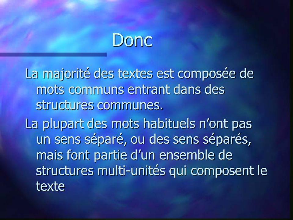 Donc La majorité des textes est composée de mots communs entrant dans des structures communes.
