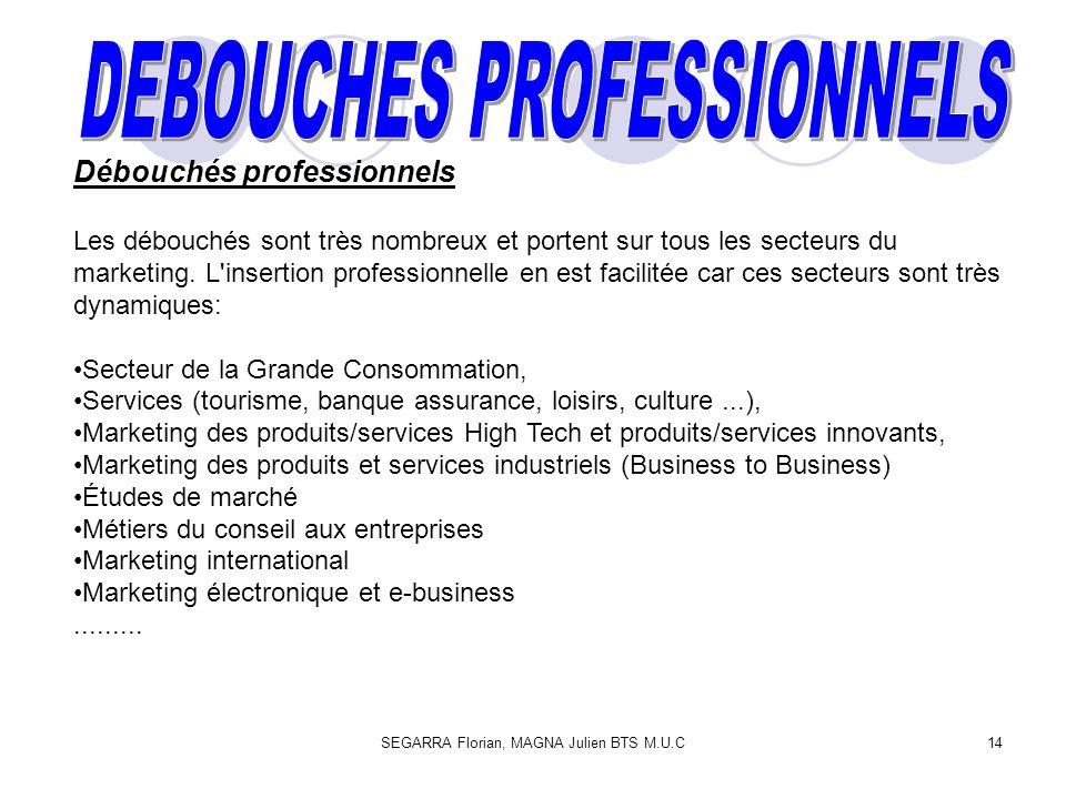 SEGARRA Florian, MAGNA Julien BTS M.U.C14 Débouchés professionnels Les débouchés sont très nombreux et portent sur tous les secteurs du marketing.