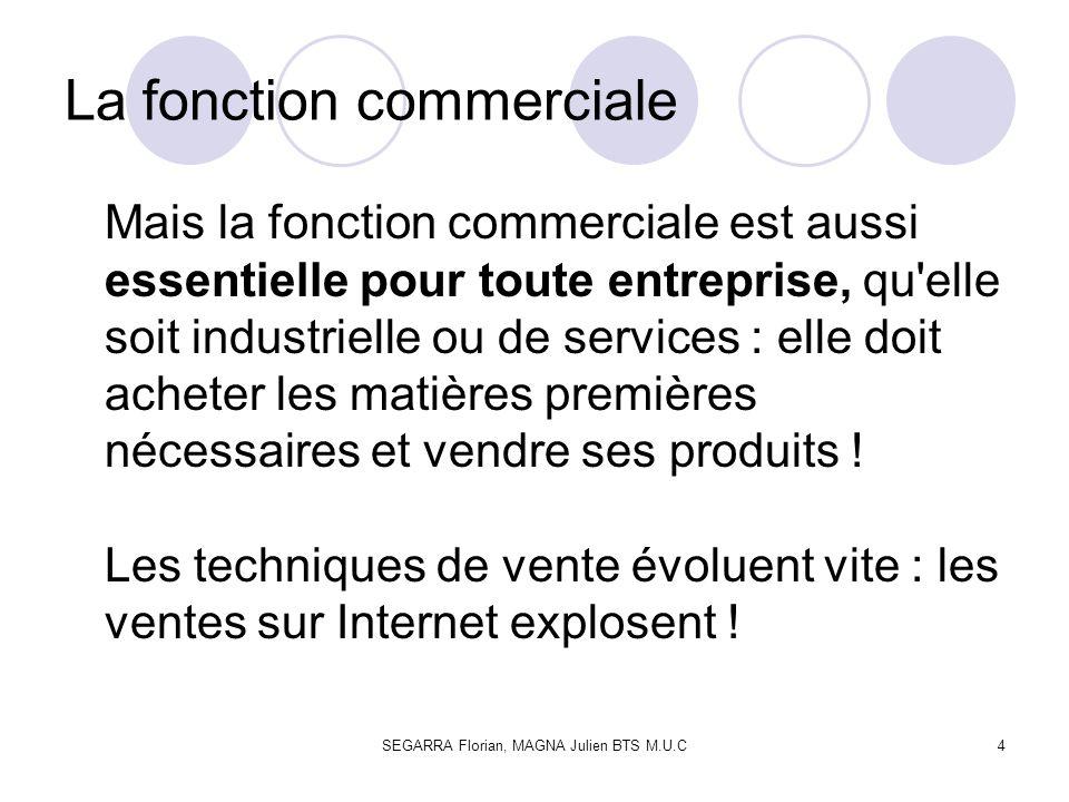 SEGARRA Florian, MAGNA Julien BTS M.U.C4 La fonction commerciale Mais la fonction commerciale est aussi essentielle pour toute entreprise, qu'elle soi