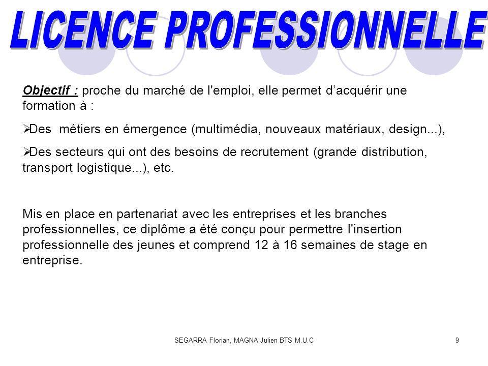 SEGARRA Florian, MAGNA Julien BTS M.U.C9 Objectif : proche du marché de l'emploi, elle permet dacquérir une formation à : Des métiers en émergence (mu