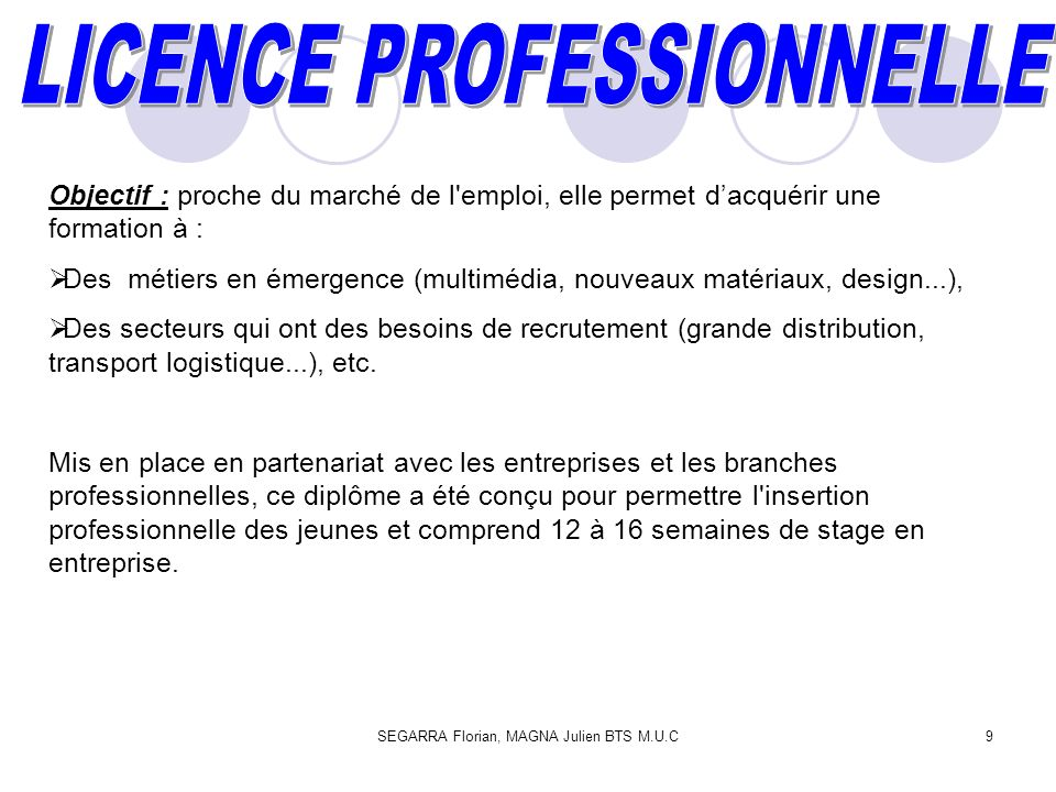 SEGARRA Florian, MAGNA Julien BTS M.U.C10 Public concerné : tous les diplômés de niveau bac + 2 (validation de 4 semestres de la licence : L2 (ou DEUG), DUT, BTS.