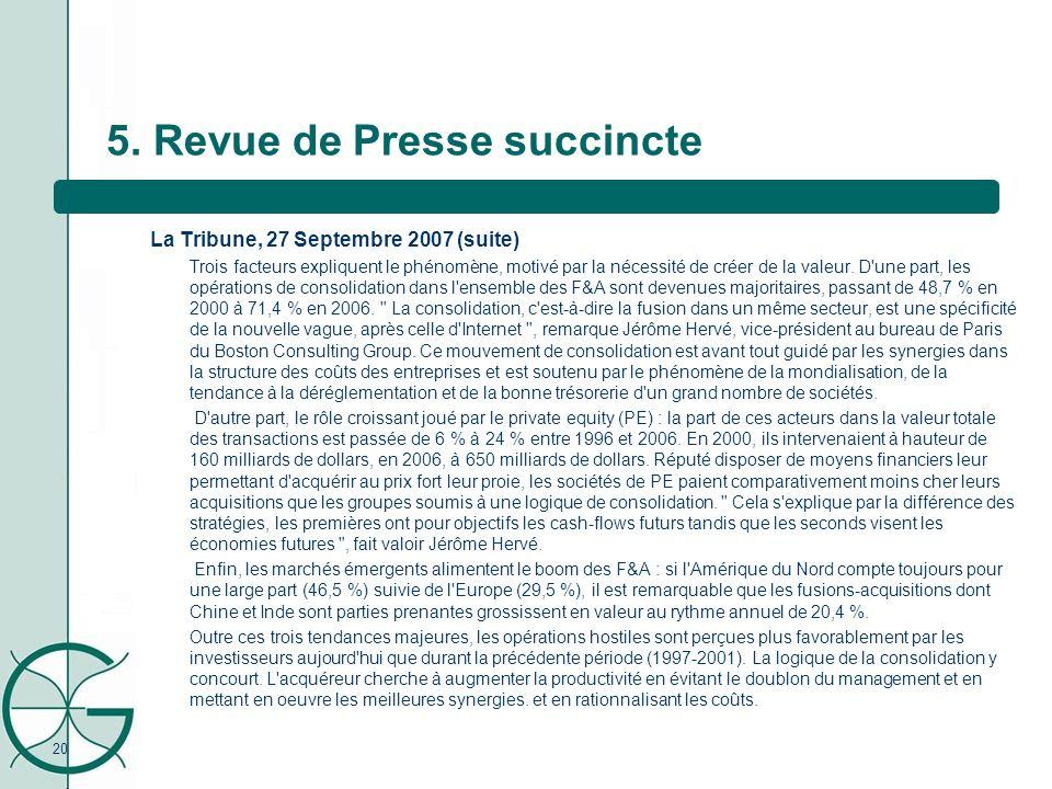 20 5. Revue de Presse succincte La Tribune, 27 Septembre 2007 (suite) Trois facteurs expliquent le phénomène, motivé par la nécessité de créer de la v