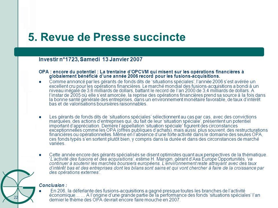 22 5. Revue de Presse succincte Investir n°1723, Samedi 13 Janvier 2007 OPA : encore du potentiel : La trentaine dOPCVM qui misent sur les opérations