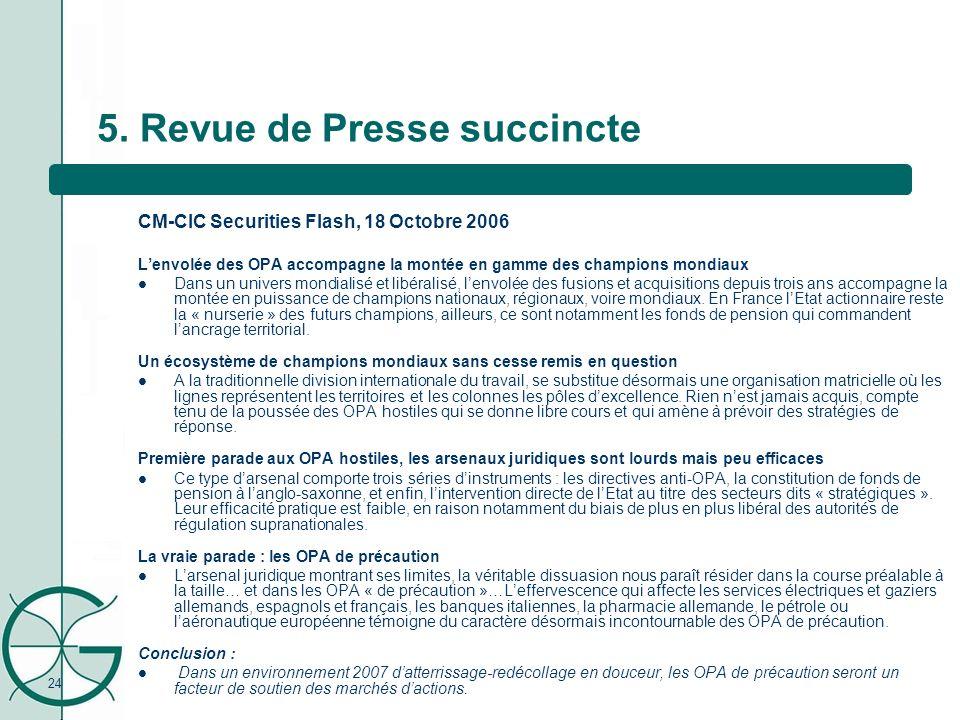 24 5. Revue de Presse succincte CM-CIC Securities Flash, 18 Octobre 2006 Lenvolée des OPA accompagne la montée en gamme des champions mondiaux Dans un