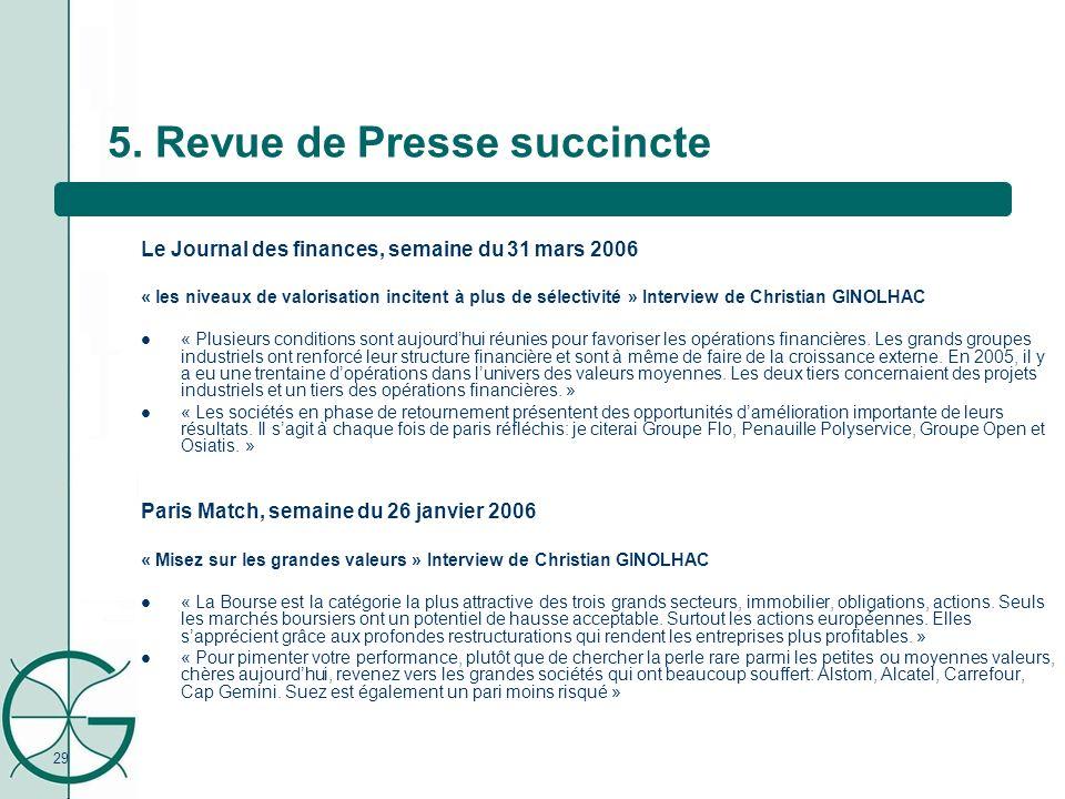 29 5. Revue de Presse succincte Le Journal des finances, semaine du 31 mars 2006 « les niveaux de valorisation incitent à plus de sélectivité » Interv