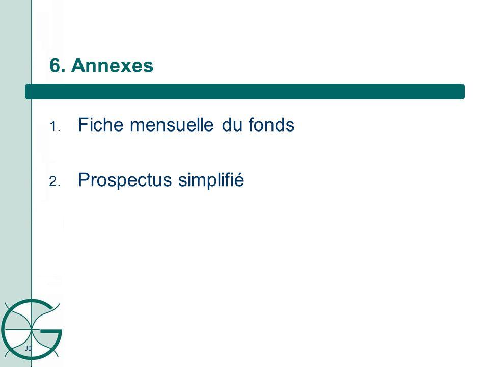 30 6. Annexes 1. Fiche mensuelle du fonds 2. Prospectus simplifié